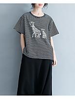 economico -T-shirt Per donna Vintage Nappa, Tinta unita / A strisce In bianco e nero