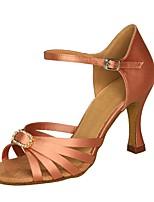 cheap -Women's Latin Shoes Silk Sandal / Heel Buckle Flared Heel Customizable Dance Shoes Black / Coffee / Dark Brown / Leather / Practice