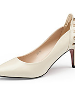 cheap -Women's Shoes Leather Spring & Summer Comfort Heels Stiletto Heel Black / Beige / Red / Party & Evening / Party & Evening