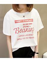 cheap -Women's Cotton T-shirt - Letter / Cotton / Letter