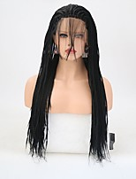 cheap -Synthetic Lace Front Wig Straight Layered Haircut Synthetic Hair Natural Hairline Black Wig Women's Long Lace Front Wig / Yes