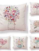 cheap -6 pcs Textile / Cotton / Linen Pillow case, Floral / Art Deco / Printing Modern Style / Square Shaped