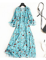 cheap -TS - Miss French Women's Simple / Street chic Flare Sleeve A Line Dress - Floral Ruffle