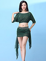 cheap -Belly Dance Outfits Women's Training Nylon Split Joint Half Sleeve Dropped Skirts / Top