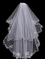 abordables -Deux couches A Fleurs / Maille / Robe Convertible Voiles de Mariée Voiles chepelle Avec Frange / Fantaisie 31,5 in (80cm) Polyester /