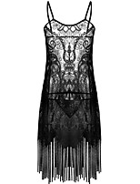 abordables -Chemises & Blouses Vêtement de nuit Femme - Dentelle Ouvert Maille Glands, Couleur Pleine Jacquard Broderie