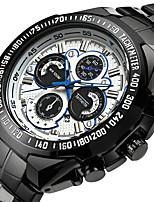baratos -Homens Quartzo Relógio Esportivo Calendário Aço Inoxidável Banda Luxo Legal Preta Prata