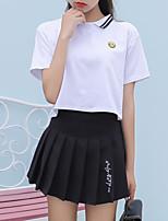 abordables -Tee-shirt Femme, Couleur Pleine - Coton Col de Chemise Ample