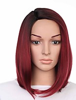 cheap -Synthetic Wig Straight Bob Haircut Synthetic Hair Easy dressing / Sexy Lady / Color Gradient Burgundy Wig Women's Short Capless / Fashion / Yes