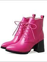 cheap -Women's Shoes PU Leather Fall Comfort Boots Chunky Heel for Casual Black Fuchsia