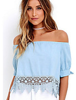 cheap -Women's Basic T-shirt - Solid Colored Off Shoulder / Summer
