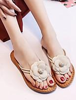 cheap -Women's Shoes PU Summer Comfort Slippers & Flip-Flops Flat Heel for Casual White Black Pink