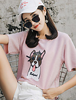 cheap -Women's Basic T-shirt - Solid Colored / Animal Sequins / Print