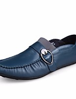 Недорогие -Муж. обувь Кожа Весна Удобная обувь Мокасины и Свитер для Офис и карьера на открытом воздухе Черный Синий Темно-русый