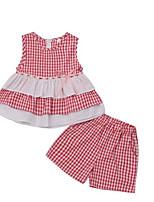 cheap -Kids Girls' Black & White Check Short Sleeves Clothing Set