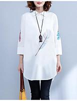 cheap -Women's Daily / Going out Shirt - Floral Shirt Collar