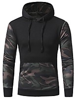cheap -Men's Basic Hoodie - Color Block Camouflage