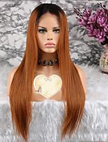 baratos -Cabelo Remy Peruca Cabelo Brasileiro Liso Corte em Camadas 130% Densidade Com Baby Hair Marrom Curto / Longo / Comprimento médio Mulheres
