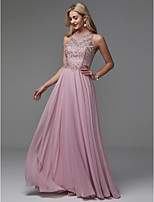 cheap -A-Line Jewel Neck Floor Length Chiffon Prom / Formal Evening Dress with Beading / Draping by TS Couture®