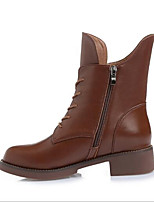 cheap -Women's Shoes Leather Fall Comfort Boots Chunky Heel for Casual Black Brown Burgundy