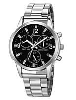 baratos -Homens Relógio Esportivo Chinês Novo Design / Cronógrafo / Criativo Aço Inoxidável / Couro Banda Casual / Rígida Preta / Prata