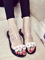cheap -Women's Shoes PU(Polyurethane) Summer Comfort Slippers & Flip-Flops Flat Heel Black / Pink