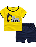 cheap -Kids / Toddler Boys' Basic Print Patchwork Short Sleeve Cotton Clothing Set