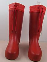Недорогие -Жен. Обувь ПВХ Наступила зима Резиновые сапоги Ботинки Для прогулок На плоской подошве Закрытый мыс Сапоги до середины икры Красный