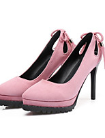 cheap -Women's Shoes Nubuck leather Fall & Winter Comfort / Novelty Heels Stiletto Heel Pointed Toe Bowknot / Tassel Black / Gray / Pink