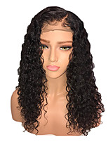 cheap -Remy Human Hair Lace Front Wig Wig Brazilian Hair / Kinky Curly Curly 130% Density Women's Long Human Hair Lace Wig