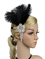 cheap -The Great Gatsby Vintage / 1920s Costume Women's Flapper Headband Black / White Vintage Cosplay Feather Sleeveless