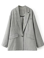 cheap -Women's Basic Blazer-Striped Shirt Collar / Spring