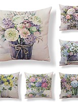 cheap -6 pcs Textile / Cotton / Linen Pillow case, Floral / Art Deco / Printing Square Shaped / Accent / Decorative