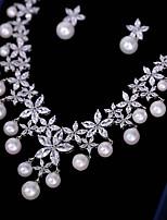 preiswerte -Damen Kubikzirkonia Schmuck-Set - Blume Modisch Einschließen Tropfen-Ohrringe / Anhängerketten Weiß Für Hochzeit / Party