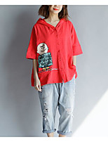 cheap -Women's Vintage T-shirt - Solid Colored Black & Red, Tassel