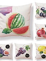 cheap -6 pcs Textile / Cotton / Linen Pillow case, Simple / Special Design / Printing Fruit / Square Shaped