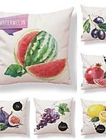 economico -6 pezzi Tessuto / Cotone / Lino Federa, Semplice / Design / Stampe Frutta / Quadrata