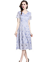 cheap -SHE IN SUN Women's Chinoiserie A Line Dress - Solid Colored Lace