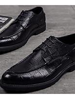 Недорогие -Муж. обувь Кожа Осень Удобная обувь Туфли на шнуровке Черный
