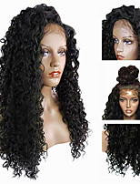 cheap -Remy Human Hair Lace Front Wig Wig Brazilian Hair Curly 150% Density With Baby Hair / Soft / Natural Hairline Natural Women's Mid Length Human Hair Lace Wig