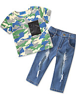 cheap -Toddler Boys' Solid Colored / Print Short Sleeve Clothing Set