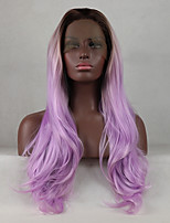 cheap -Ombre Synthetic Lace Front Wig Straight Middle Part Middle Part Medium Size Best Quality Color Gradient Purple Black Women's Lace Front