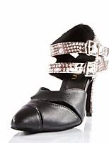 Недорогие -Жен. Обувь для модерна Кожа На каблуках Выступление / Тренировочные На шпильке Танцевальная обувь Черный