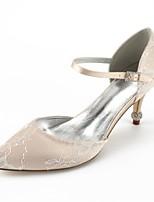 abordables -Femme Chaussures Dentelle Eté Confort / D'Orsay & Deux Pièces Chaussures de mariage Talon Cône Bout pointu Strass Argent / Champagne /