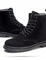 Недорогие -Жен. Обувь Кожа Зима Армейские ботинки Ботинки На плоской подошве Ботинки Черный