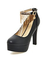 cheap -Women's Shoes Leatherette Spring Comfort Heels Chunky Heel Round Toe Buckle / Tassel Black / Beige / Pink / Party & Evening