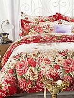cheap -Duvet Cover Sets Floral 100% Cotton Polyster Reactive Print 4 Piece