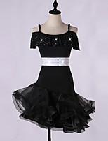 cheap -Latin Dance Dresses Women's Performance Spandex / Organza Crystals / Rhinestones / Cascading Ruffles Short Sleeve Dress
