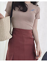 abordables -Tee-shirt Femme, Couleur Pleine Brodée Basique
