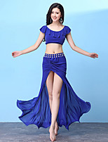 cheap -Belly Dance Outfits Women's Training Nylon Split / Split Joint / Cascading Ruffles Short Sleeve Dropped Skirts / Top